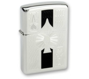 Зажигалка ZIPPO Ace с покрытием High Polish Chrome, латунь/сталь, серебристая, 36x12x56 мм