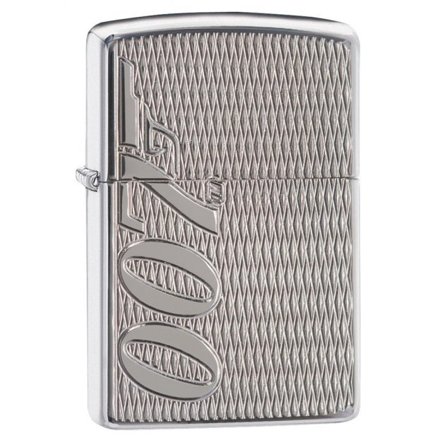 Зажигалка ZIPPO James Bond с покрытием High Polish Chrome, латунь/сталь, серебристая, 36x12x56 мм