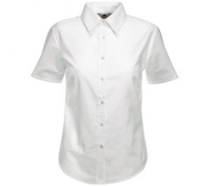"Рубашка ""Lady-Fit Short Sleeve Oxford Shirt"", белый, 70% х/б, 30% п/э, 130 г/м2"